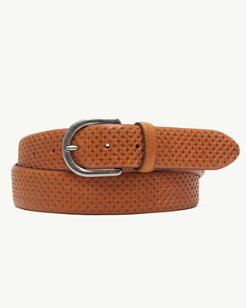 Embossed Weave Leather Belt