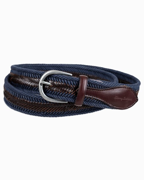 Leather And Fabric Braid Belt