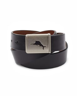 Leather Belt with Plaque Buckle