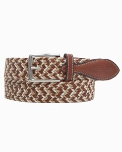 Fabric and Leather Braided Belt