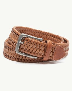 Big & Tall Braided Leather Stretch Belt