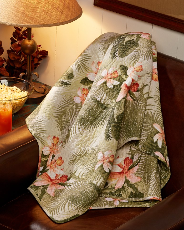 Tropical Orchid 50x60 Inch Reversible Quilted Throw
