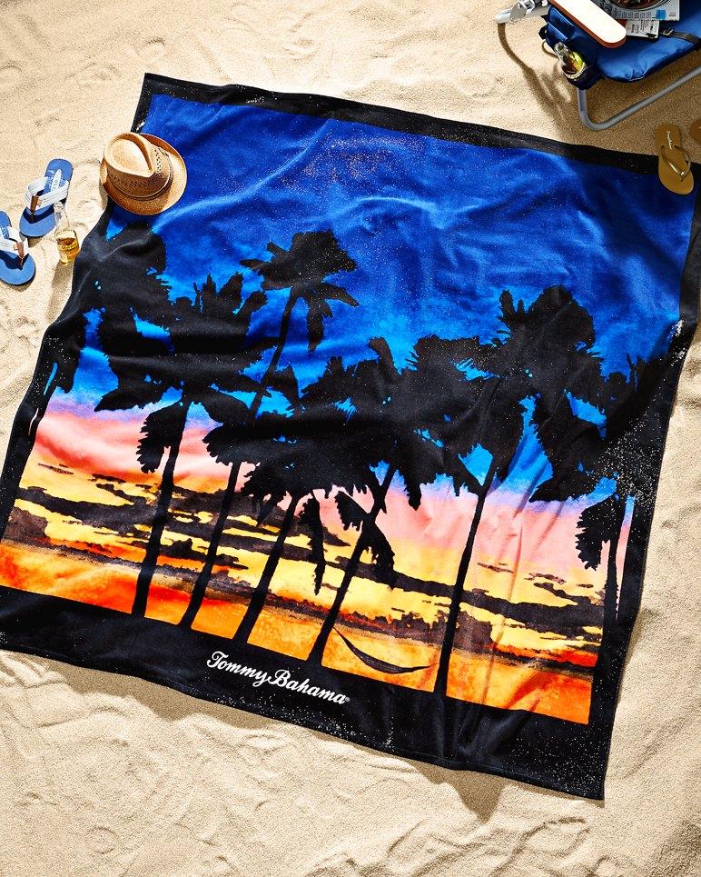 Sunset Palms 6 X6 Blanket Size Beach Towel