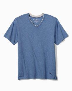 Heathered Jersey-Knit V-Neck T-Shirt