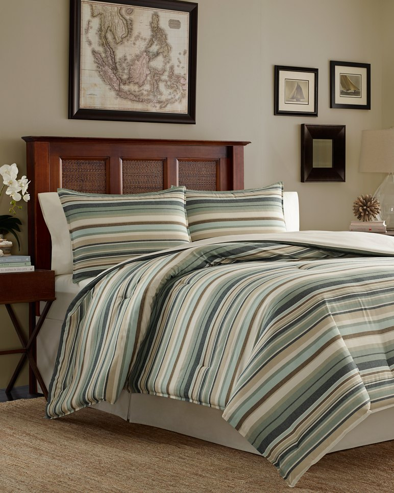 canvas stripe queen comforter set