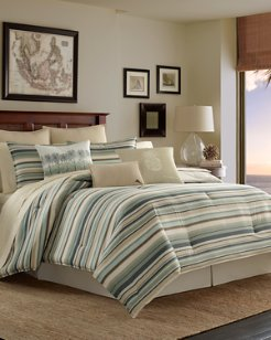 Canvas Stripe Full/Queen Duvet Set