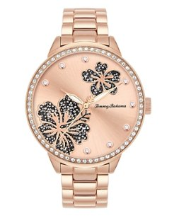 Rosy Hibiscus Watch With Swarovski® Crystals