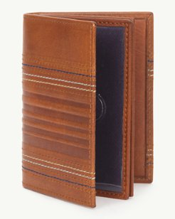 Embossed Leather Magnetic Card Case Wallet