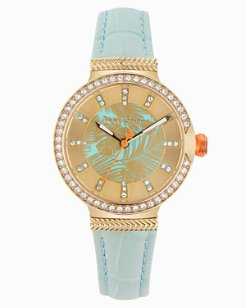 Gold-Toned Woven Fronds Watch With Swarovski® Crystals