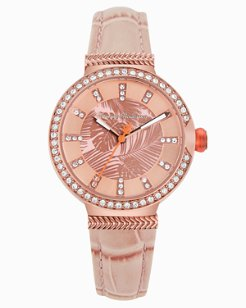 Rose Gold-Toned Woven Fronds Watch With Swarovski® Crystals