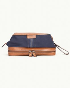 Canvas Travel Kit With Leather Bottom