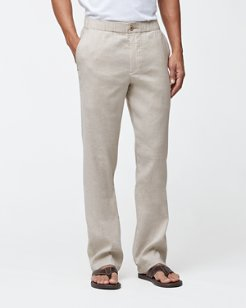 Big & Tall Beach Linen Elastic-Waist Pants