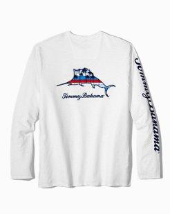 Big & Tall Palm Stripes Billboard Marlin Lux Long-Sleeve T-Shirt