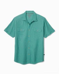 Big & Tall Tropicool Seas Button IslandZone® Knit Camp Shirt