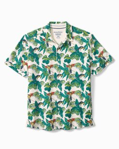 Big & Tall 24 Parrot Fronds IslandZone® Knit Camp Shirt