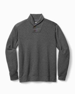Big & Tall Sandbar Plaid Shawl-Neck Sweatshirt