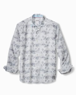 Big & Tall Tropical Toile Stretch-Linen Shirt