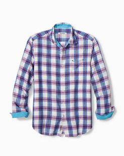 Big & Tall Palmetto Plaid IslandZone® Linen Shirt