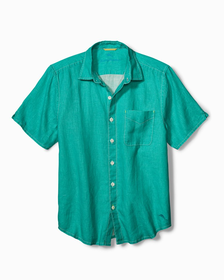Big & Tall Sea Glass Breezer Linen Camp Shirt | Tuggl