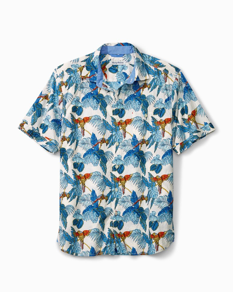 Main Image for Big & Tall 24 Parrot Fronds Stretch-Cotton Camp Shirt