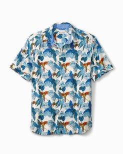 Big & Tall 24 Parrot Fronds Stretch-Cotton Camp Shirt