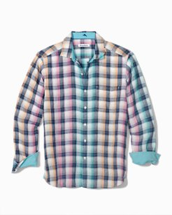 Big & Tall Polynesian Plaid Linen Shirt