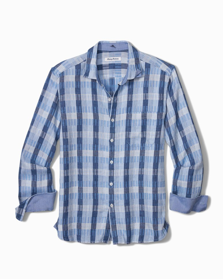 Main Image for Big & Tall Puka Plaid Stretch-Linen Shirt