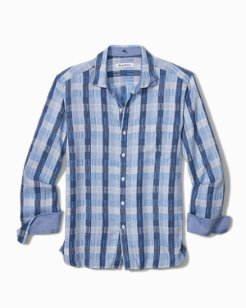 Big & Tall Puka Plaid Stretch-Linen Shirt