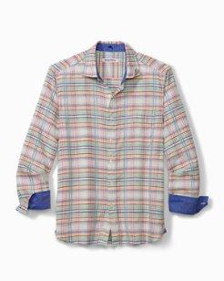 Big & Tall Tonga Plaid Stretch-Linen Shirt