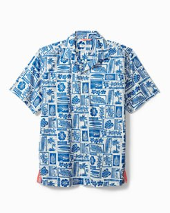 Big & Tall Lido Beach Stretch-Cotton Camp Shirt