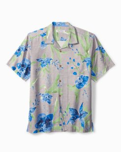 Big & Tall Aqua Blooms Camp Shirt