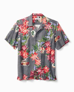 Big & Tall Poinsettia Holiday Camp Shirt