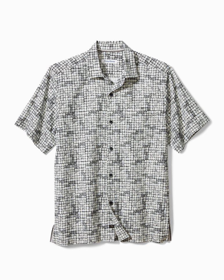 Main Image for Big & Tall Poolside Tiles Stretch-Cotton Camp Shirt