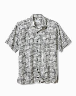 Big & Tall Poolside Tiles Stretch-Cotton Camp Shirt
