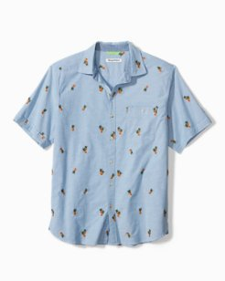 Big & Tall Pineapple Isles Stretch-Cotton Camp Shirt