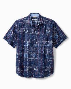 Big & Tall Sand Dollar Batik Stretch-Cotton Camp Shirt