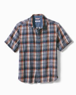 Big & Tall Seaspray Plaid Camp Shirt