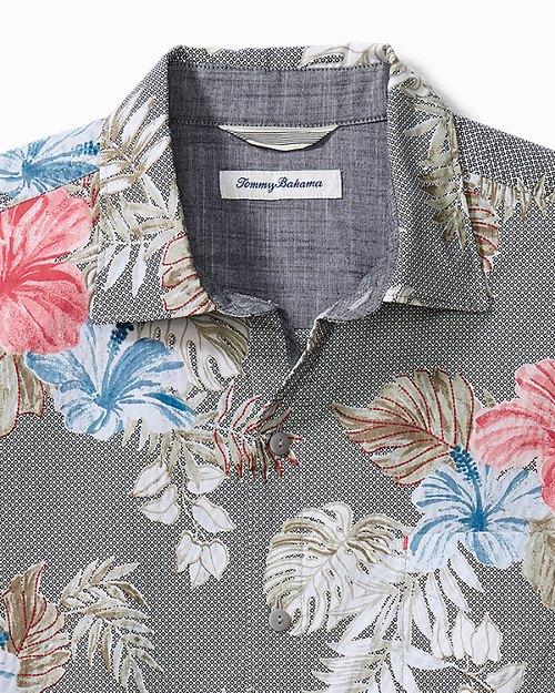 Big & Tall Bora Bora Flora Cotton-Stretch Camp Shirt