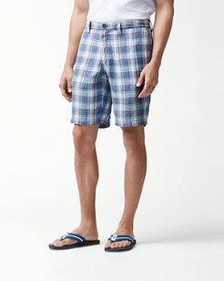 Big & Tall Plaid De Leon Reversible Linen Shorts
