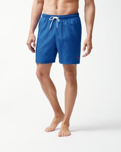 Big & Tall Naples Midnight Monstera Swim Trunks