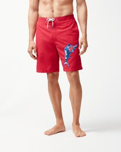 Big & Tall Baja Hula Holiday Marlin Board Shorts