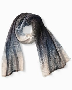 Ombré Houndstooth Wool Scarf