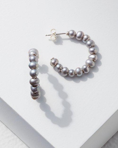 Grey Pearl Hoop Earrings