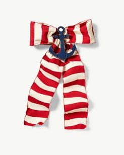 Red Stripe Bow Wreath Accessory