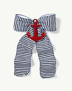 Blue Stripe Bow Wreath Accessory