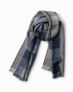 Check and Houndstooth Wool Blend Scarf