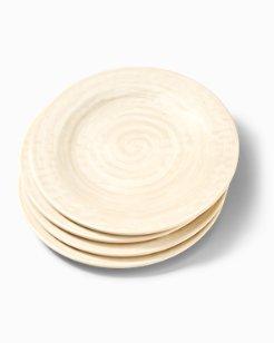 Cream Swirl Melamine Dinner Plates - Set of 4