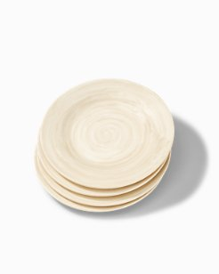 Cream Swirl Melamine Salad Plates - Set of 4