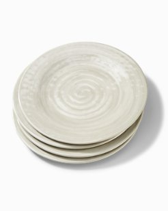 Gray Swirl Melamine Dinner Plates - Set of 4