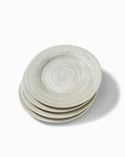 Gray Swirl Melamine Salad Plates - Set of 4